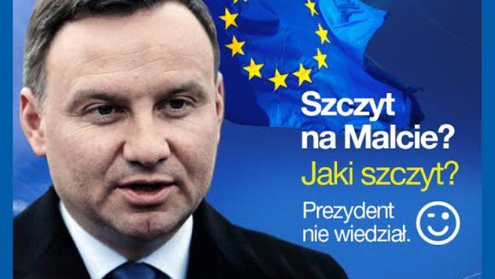 Pan Prezydent nie wiedział o szczycie na Malcie
