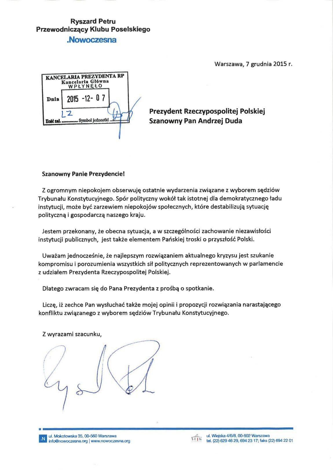 List Ryszarda Petru do Prezydenta RP