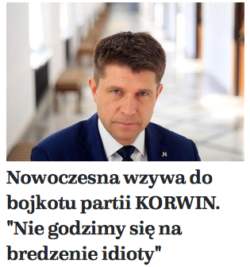 Nowoczesna bojkotuje J.Korwin-Mikke. Nie godzimy się na brednie idioty.