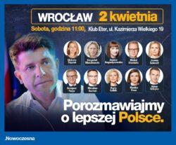 Ryszard Petru i posłowie Nowoczesnej 2 kwietnia we Wrocławiu.