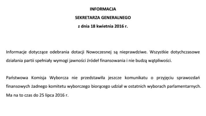 Oświadczenie w sprawie finansowania kampanii wyborczej Nowoczesnej.
