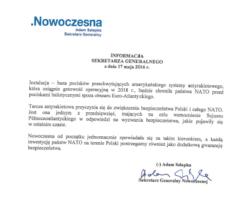 Stanowisko Sekretarza Generalnego Nowoczesnej ws. tarcz antyrakietowych NATO