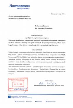 Nowoczesna składa zawiadomienie do Prokuratury o możliwości popełnienia przestępstwa w czasie meczu Legia Warszawa – Piast Gliwice