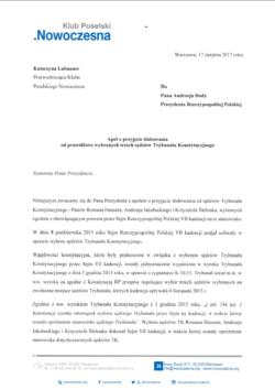 Nowoczesna apeluje do Prezydenta i Marszałka Sejmu