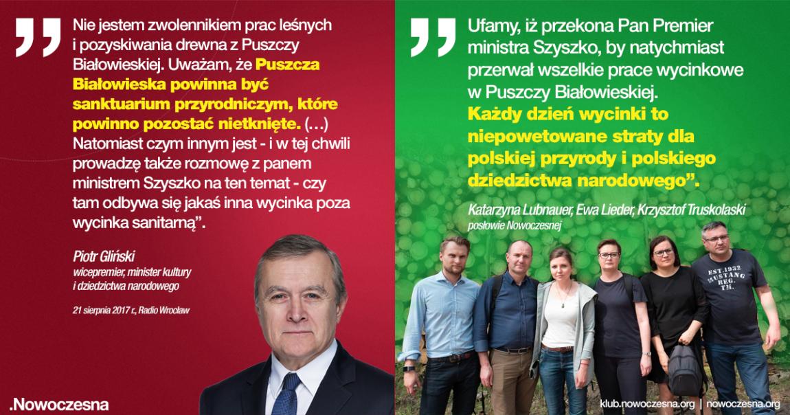 Nowoczesna pisze do wicepremiera Glińskiego ws Puszczy Białowieskiej