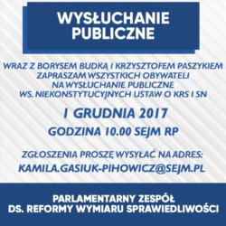 Zapraszamy wszystkich na wysłuchanie publiczne ws. niekonstytucyjnych ustaw o KRS i SN