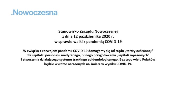 Stanowisko Nowoczesnej w związku z pandemią COVID-19