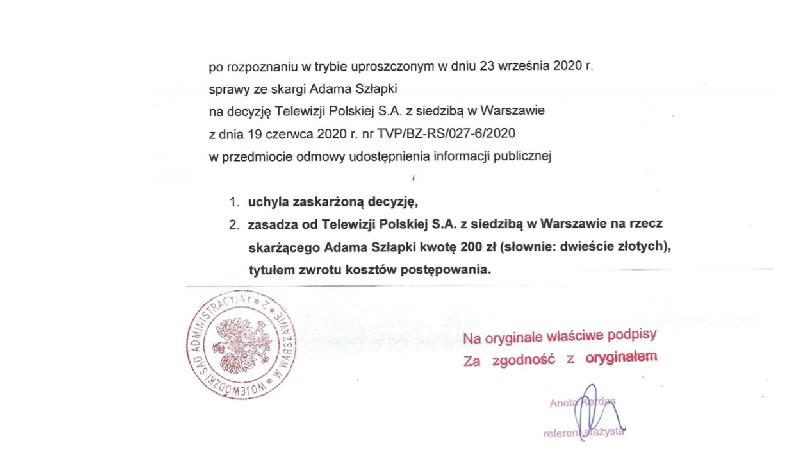 Przewodniczący Adam Szłapka wygrywa w sądzie z TVP!