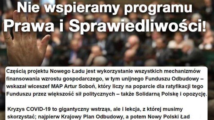 Wstrzymujemy się i nie głosujemy za programem PiS!